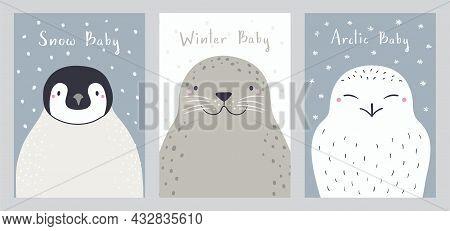 Cute Cartoon Animals Portraits Set, Penguin, Seal, Snowy Owl. Hand Drawn Vector Illustration. Winter