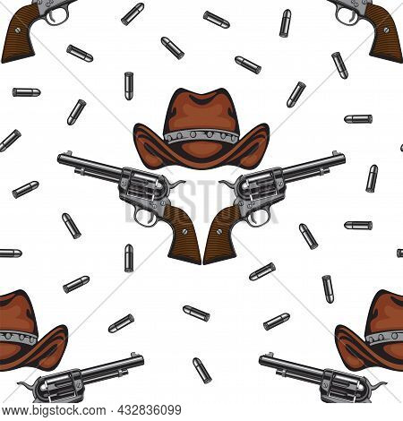 Vector Seamless Pattern With Old Revolvers, Brown Cowboy Hats And Scattered Cartridges On A Light Ba