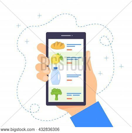 Order Grocery Online. Buying Groceries Online Using A Mobile App. Food Delivery Concept. Ordering Fo