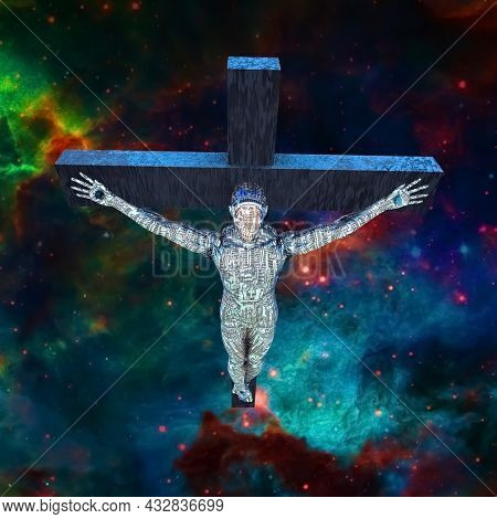 Crucified cyborg in space. 3D rendering.