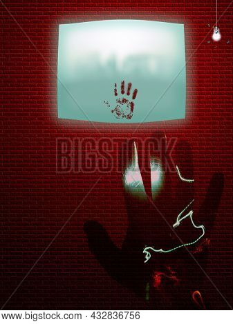 Hand in blood. Bloody handprint on screen. 3D rendering.