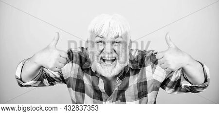 Barbershop Hairdresser Haircut. Grey Hair. Typical Grandpa. Emotional Mature Hipster. Sincere Grandp