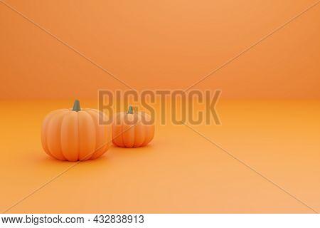 3d Render Pumpkin. Minimal Concept. Holiday Decoration, Bright Orange Yellow Pumpkin For Celebration