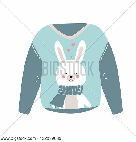 Flat Vector Cartoon Illustration Of A Blue Cozy Warm Sweater Or Jumper With Cute Rabbit Or Hare In A