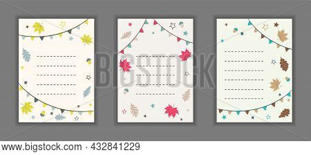 Set Of Autumn Card Templates With Fall Leaves, Flags And Acorns. Hand Drawn Layout For Postcard, Tha