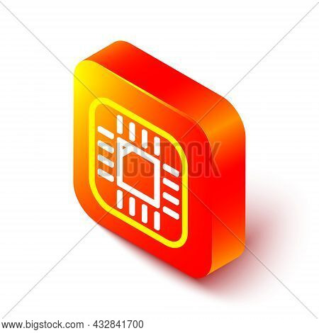 Isometric Line Computer Processor With Microcircuits Cpu Icon Isolated On White Background. Chip Or