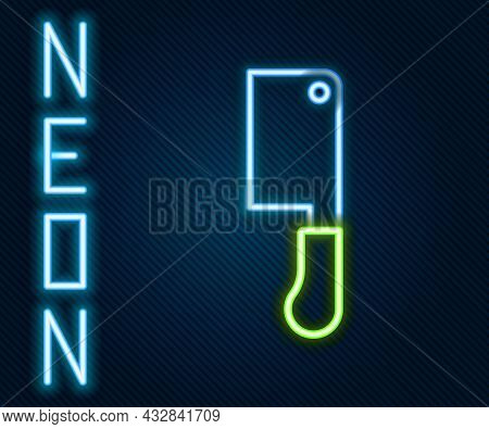 Glowing Neon Line Meat Chopper Icon Isolated On Black Background. Butcher Knife. Kitchen Knife For M