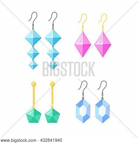 Earrings Collection. Gold Or Silver Accessories With Gemstones, Diamonds, Precious Stone. Jewellery