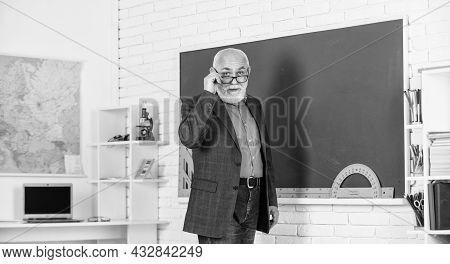Back To School. Teacher Old School Generation. Experienced Lecturer. Mature Man Enjoying Job. Teache