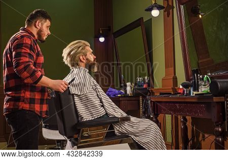 Man Want New Hairstyle. Male Beauty And Fashion. Mature Man At Barbershop. Brutal Bearded Man At Hai