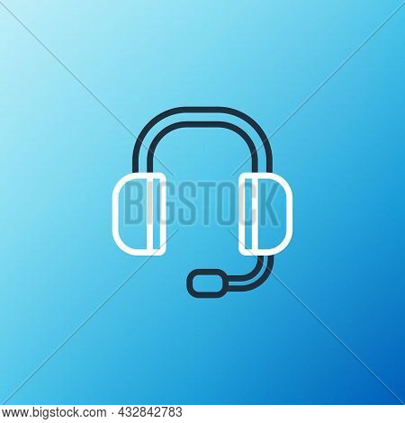 Line Headphones Icon Isolated On Blue Background. Support Customer Service, Hotline, Call Center, Fa