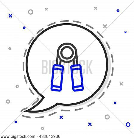 Line Sport Expander Icon Isolated On White Background. Sport Equipment. Colorful Outline Concept. Ve