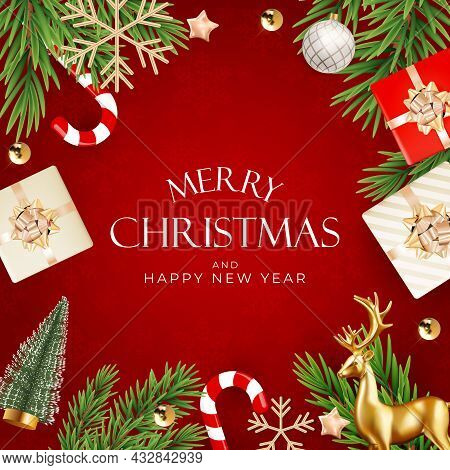 Christmas Holiday Party Background. Happy New Year And Merry Christmas Poster Template. Vector Illus