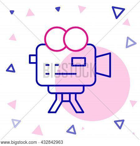 Line Retro Cinema Camera Icon Isolated On White Background. Video Camera. Movie Sign. Film Projector