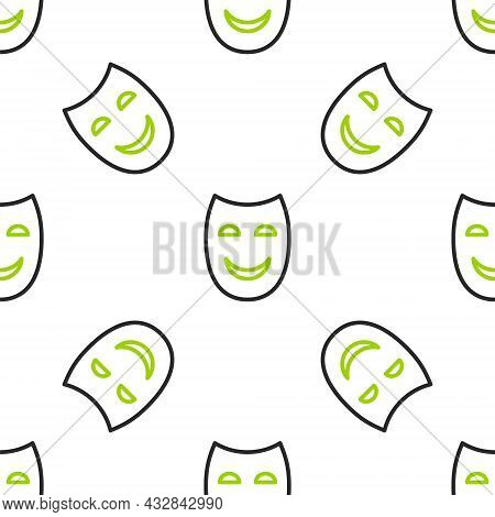 Line Comedy Theatrical Mask Icon Isolated Seamless Pattern On White Background. Vector