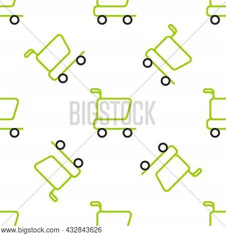 Line Shopping Cart Icon Isolated Seamless Pattern On White Background. Online Buying Concept. Delive