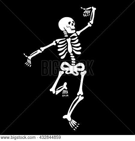 Cute Dancing Skeleton On A Black Background. Vector
