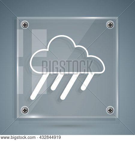 White Cloud With Rain Icon Isolated On Grey Background. Rain Cloud Precipitation With Rain Drops. Sq