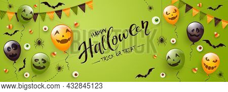 Happy Halloween Banner. Black Spiders, Bats And Halloween Balloons With Scary Smiles On Green Backgr
