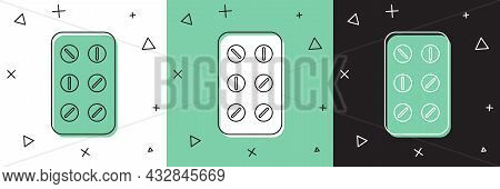 Set Pills In Blister Pack Icon Isolated On White And Green, Black Background. Medical Drug Package F