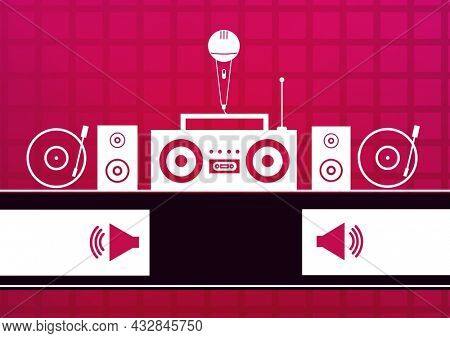Composition of microphone, with turntables, loudspeaker symbols and music equipment on red. dj, music, rap and singing event communication concept, template with copy space digitally generated image.