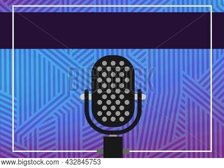 Composition of retro microphone over abstract blue line patterned background, with dark copy banner. music and singing event communication concept, template with copy space digitally generated image.