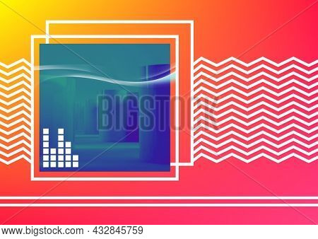 Composition of eq frequency meter on blurred blue square with white zigzag lines and squares on pink. music event communication concept template digital image.