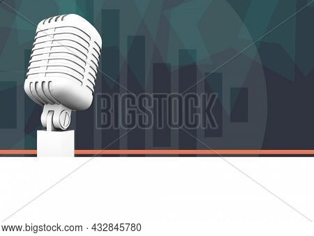 Composition of retro microphone, with eq frequency monitor bars on dark green. music and singing event communication concept, template with copy space digitally generated image.