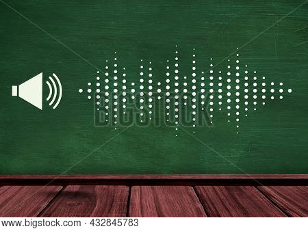 Composition of loudspeaker symbol and sound frequency dot level meter on green wall over wood floor. music and sound visualisation concept digitally generated image. usic