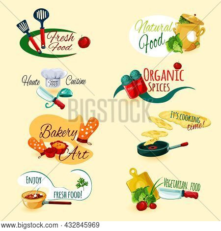 Fresh Natural Food Organic Spices Cooking And Baking Emblems Set Isolated Vector Illustration