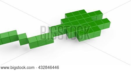 Pixelized, Abstract Green Power Plug With Cable On White Background, Green Renewable Energy Or Clean