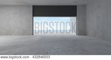Empty Modern Abstract Concrete Room With Open Rolling Gate On Back Wall With Ocean View And Rough Fl