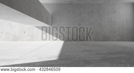 Abstract Empty, Modern Concrete Room With Sunlight Lighting From Left Side And Rough Floor - Industr