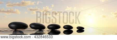 Row Or Line Of Black Pebbles With Water On Sunset Or Sunrise Background, Zen, Spa, Yoga Or Meditatio