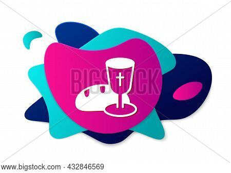 Color Goblet And Bread Icon Isolated On White Background. Bread And Wine Cup. Holy Communion Sign. A