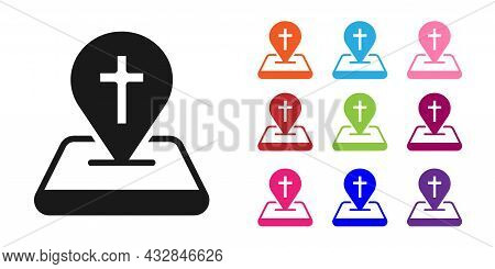 Black Map Pin Church Building Icon Isolated On White Background. Christian Church. Religion Of Churc