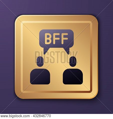 Purple Bff Or Best Friends Forever Icon Isolated On Purple Background. Gold Square Button. Vector