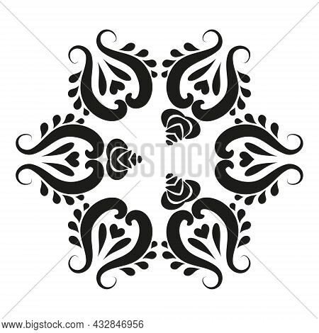 Circular Vector Pattern With Arabesques. Classic Ornament In Antique Style. Vintage Round Damask Pat