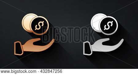 Gold And Silver Donation Hand With Money Icon Isolated On Black Background. Hand Give Money As Donat
