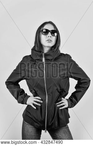 Beautiful Young Woman In Nice Spring Jacket. Fashion Photo. Outdoor Portrait Of Young Beautiful Fash
