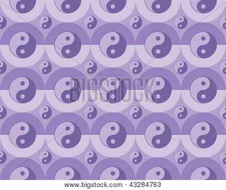 seamless pattern with yin yang symbols vector illustration poster