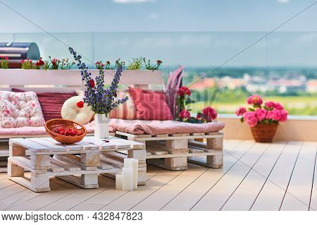 Cute, Cozy Pallet Furniture With Colorful Pillows At Summer Patio, Lounge Outdoor Space