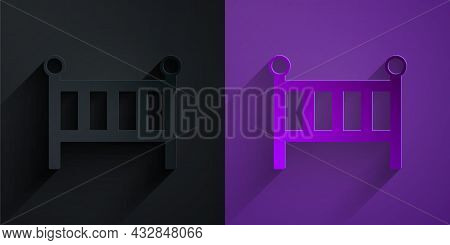 Paper Cut Baby Crib Cradle Bed Icon Isolated On Black On Purple Background. Paper Art Style. Vector