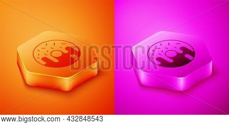 Isometric Donut With Sweet Glaze Icon Isolated On Orange And Pink Background. Hexagon Button. Vector