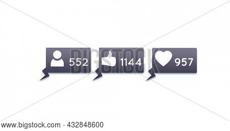 Digital image of follower, like and heart icons and numbers  increasing inside grey chat boxes on a white background 4k