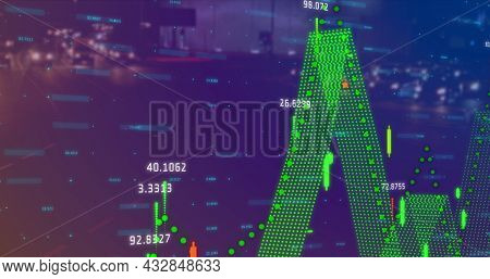 Image of graphs and statistics over fast forward highway. digital interface image game concept digitally generated image.