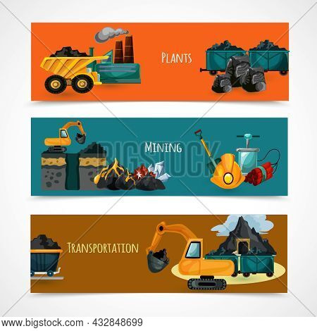 Mining Industry Horizontal Banners Set With Mineral Extraction And Transportation Elements Isolated