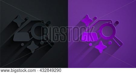 Paper Cut Gold Bars Icon Isolated On Black On Purple Background. Banking Business Concept. Paper Art