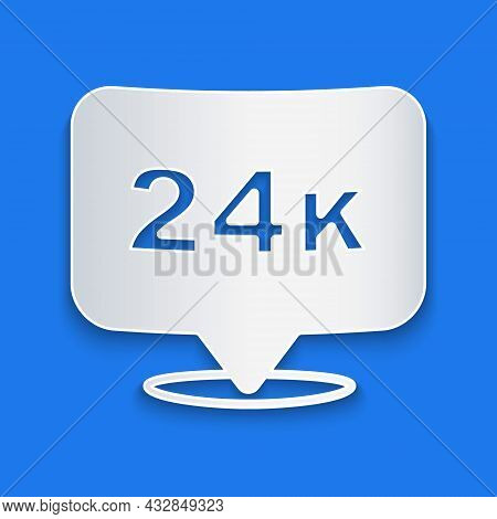 Paper Cut Gold Bars 24k Icon Isolated On Blue Background. Banking Business Concept. Paper Art Style.