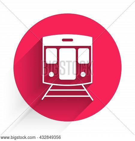 White Train And Railway Icon Isolated With Long Shadow Background. Public Transportation Symbol. Sub